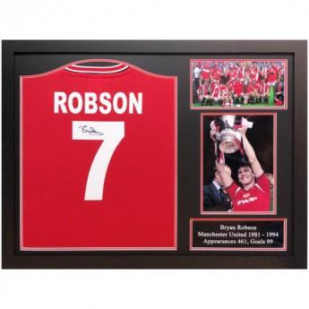 Słynni piłkarze koszulka w antyramie Manchester United FC Robson 1985 Signed Shirt (Framed)