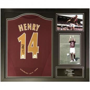 Słynni piłkarze koszulka w antyramie Arsenal FC Henry 2005-2006 Signed Shirt Redcurrant (Framed)