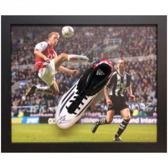 Słynni piłkarze korki w antyramie Arsenal FC Bergkamp Signed Boot (Framed)