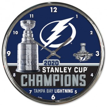 Tampa Bay Lightning zegar 2020 Stanley Cup Champions Chrome Clock