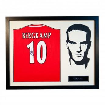 Słynni piłkarze koszulka w antyramie FC Arsenal Bergkamp Signed Shirt Silhouette