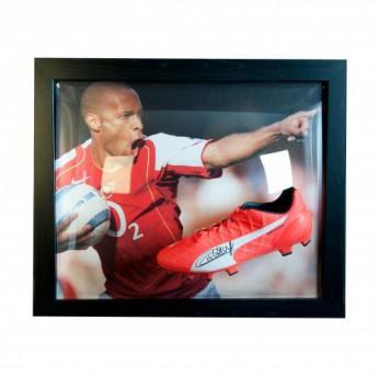 Słynni piłkarze korki w antyramie FC Arsenal Henry Signed Boot (Framed)